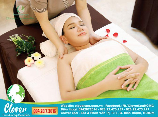 trị mụn sau sinh, massage body